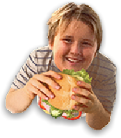 boy with hamburger